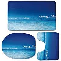 3 Piece Bath Mat Rug Set,Landscape,Bathroom Non-Slip Floor Mat,Ocean-Scenery-Deep-Sea-Beach-Hot-Summer-Themed-Photo,Pedestal Rug + Lid Toilet Cover + Bath Mat,Turquoise-Light-Blue-and-Dark-Blue