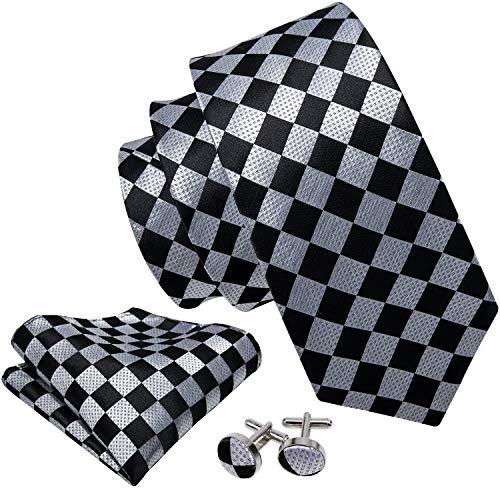 Barry.Wang Classic Ties for Men Geometric Plaid Necktie Set (Black And White Checkered Mens Dress Shirt)
