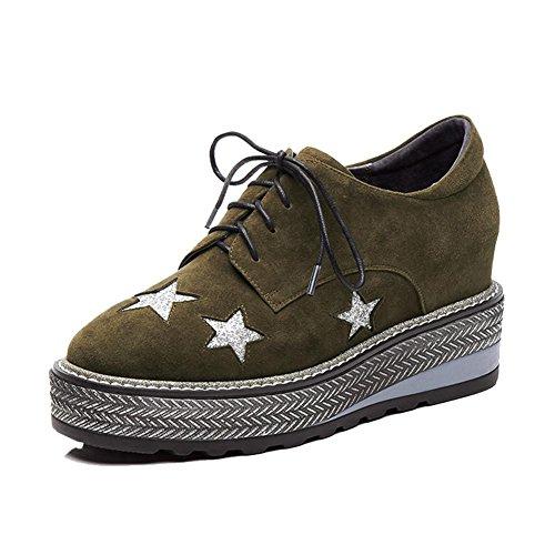 KJJDE Zapatos con Plataforma Mujeres WSXY-A0903 Correa De Sujeción Patrón de Pentagram Green
