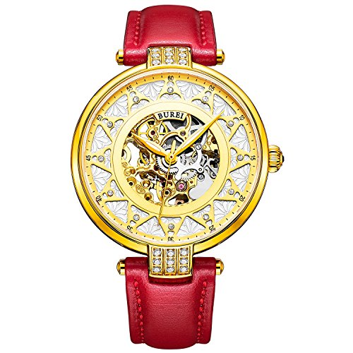 BUREI Women s White Dial Skeleton Automatic Watch with Calfskin Leather Gold