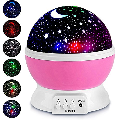 Night Light Lamp Projector, Star Light Rotating Projector, Star Projector Lamp with 8 Colors and 360 Degree Moon Star Projection With 6.5ft USB Cable, Unique Lamp for Children Nursery Room Pink]()