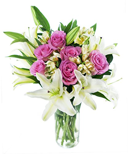 KaBloom High Society Bouquet: 6 Pink Roses, 3 White Oriental Lilies, 5 White Alstroemerias and Lush Greens with Vase