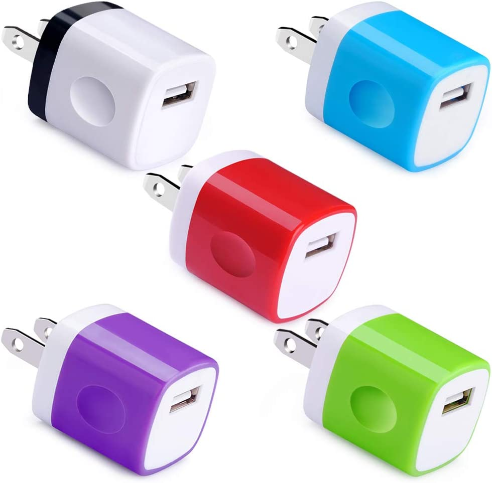Wall Adapter 5 Pack, UorMe 1Amp 5V Single Port Wall Adapter USB Plug Cube Block Box Compatible with Phone Xs XR X 8 7 6S 6 Plus 5, Samsung S9 S8 Note 9 8 S7 Edge, LG, Nexus, Moto, BlackBerry and More