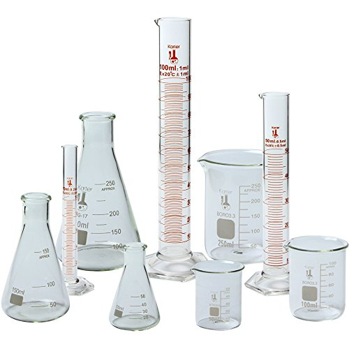 Beaker, Flask, and Cylinder Set, 3.3 Boro. Glass - 9 Pieces - Beaker Set, Flask Set, and Graduated Cylinder Set, Karter Scientific 233N2