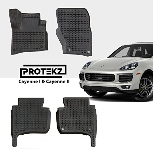Protekz 3D All Weather Floor Mats/Liners Custom fit for Select Porsche Cayenne 2010 2011 2012 2013 2014 2015 2016 2017 2018 (3pcs ()