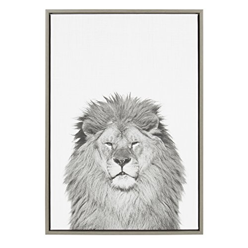 Kate and Laurel - Sylvie Lion Animal Print Black and White Portrait Framed Canvas Wall Art by Simon Te Tai, Gray 23x33
