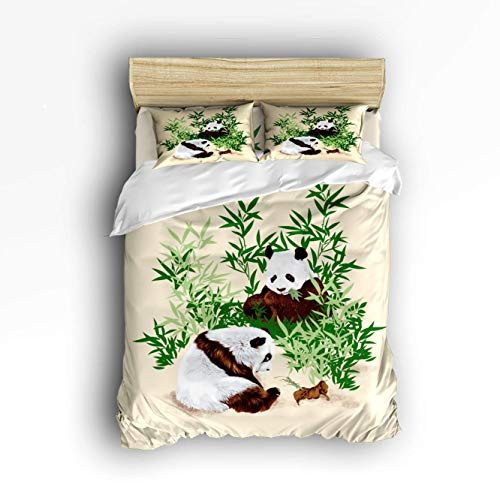 Set Bed Hand Painted (VANKINE Full Size Luxury Duvet Cover Set Comfort,Colorful Panda Animal Pattern Hand Painted Bed Sets,Include 1 Flat Sheet 1 Duvet Cover and 2 Pillow Cases)