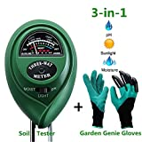 Diiker Soil Test kit, Soil pH meter Include 3-in-1 Moisture Tester Digital Tool for pH/Water/Light and Garden Genie Gloves, Testing for Gardening/Lawn/Plants, Indoor Outdoors(No Battery Needed) Review