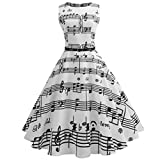 FDelinK Women's Vintage 1950's Hepburn Music Note Print Belted Retro Party Swing Cocktail Dress (White, XL)