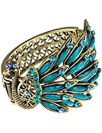 Womens Antique Golden Tone Peacock Bracelet Bangle With Turquoise Blue Gems