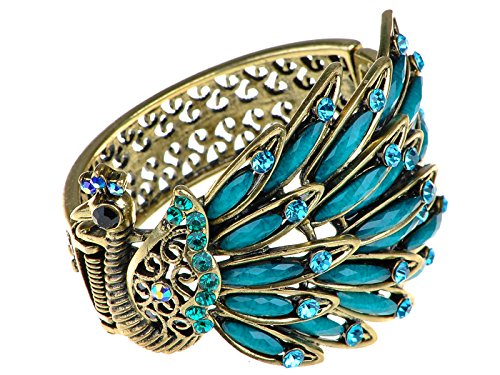 Alilang Womens Antique Golden Tone Peacock Bracelet Bangle with Turquoise Blue Gems]()