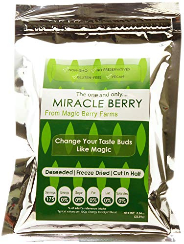 Miracle Berries by Miracle Berry, freeze dried 100% Miracle fruit, Bulk 1-Pack 175 berry halves, Non-GMO, Grown in the USA, Makes sour sweet, Great for everyday - Fruit Farms Dried