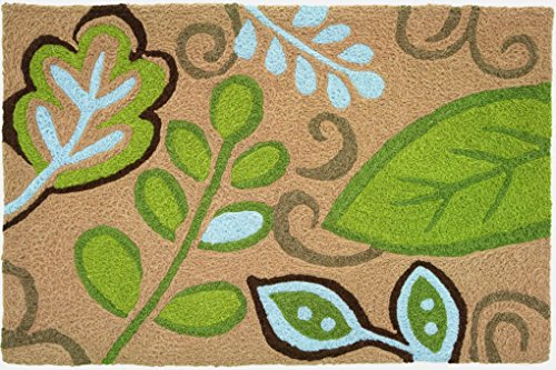 "Jellybean 20""x 30"" Accent Rug Green Leaves with Memory Foam"