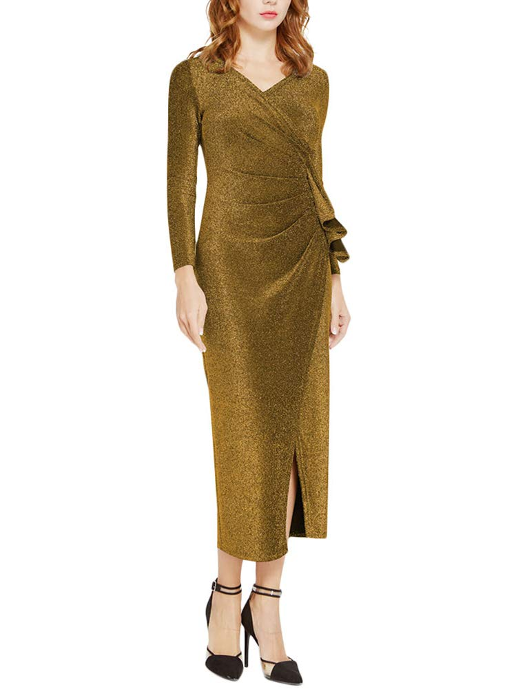 ThusFar Women's Long Sleeve Wrap Dresses - Sexy Glitter Ruched V Neck High Slit Maxi Dress X-Large Gold