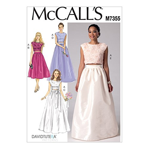 Mccalls Misses Skirt - McCall's Patterns M7355 Misses' Crop Top and Gathered Skirts, Size A5 (6-8-10-12-14)