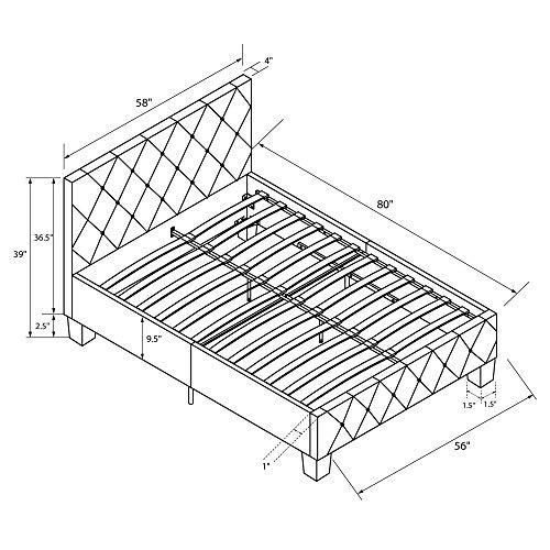 DHP Platform Bed, Dakota Faux Leather Tufted Upholstered Platform Bed - Includes Tufted Upholstered Headboard and Side Rails, Full Platform Bed - Black
