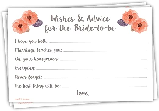 Amazon Com Bridal Wishes And Advice Cards For Bride To Be 50 Count Kitchen Dining