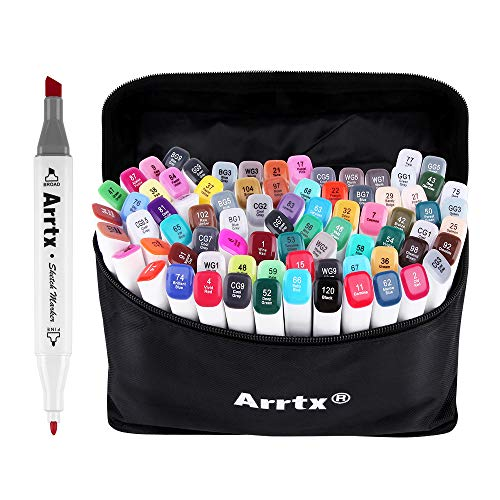 80 Set Color Alcohol Based Markers Graphic Drawing Art Dual Tip Sketch Pen Art Sketch Twin Marker Pens Hand Painted Design Draft, Arrtx