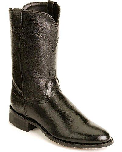 (Old West Men's Leather Roper Cowboy Boot Black)