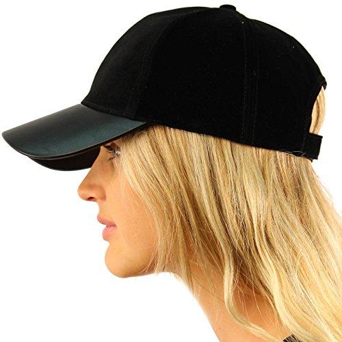 Cap Back Baseball (Soft Velvet Everyday Faux Leather Visor Baseball Adjustable Ball Cap Hat Black)