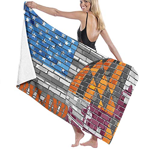 SARA NELL Microfiber Beach Towel Maryland Flag On The Grey USA Flag Bath Towel Beach Blanket Quick Dry Towel for Travel Swim Pool Yoga Camping Gym Sport -30