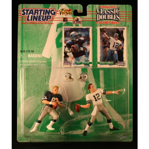 TROY AIKMAN / DALLAS COWBOYS & ROGER STAUBACH / DALLAS COWBOYS 1997 NFL Classic Doubles * Winning Pairs * Starting Lineup Action Figures & Exclusive Collector Trading Cards