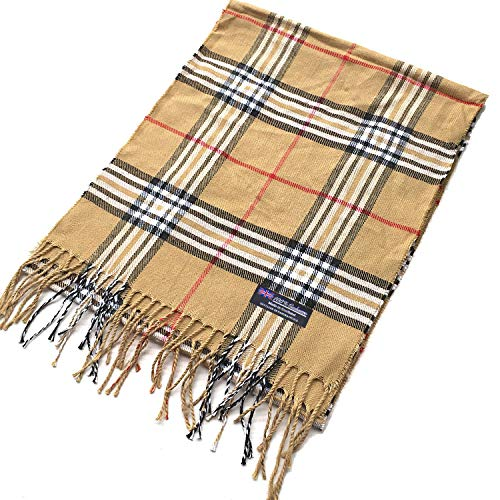 2 PLY 100% Cashmere Scarf Tartan OS Big Check Plaid Made in Scotland Wool Wrap Muffler (Camel Over Sized Check GC)