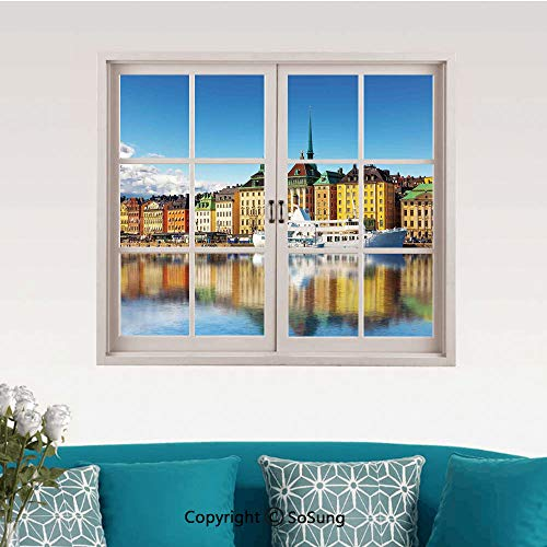 Wanderlust Decor Removable Wall Sticker/Wall Mural,Summer Panorama of The Gamla Stan in Stockholm Sweden Yacht Ship by The Port Ocean Creative Close Window View Wall Decor,24