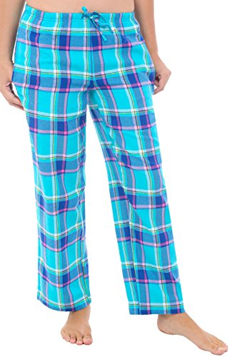 Womens Flannel Pajama Pants, Long Cotton Pj Bottoms, 3X Teal Plaid (A0702Q263X) (Dark Plaid Flannel Pants)