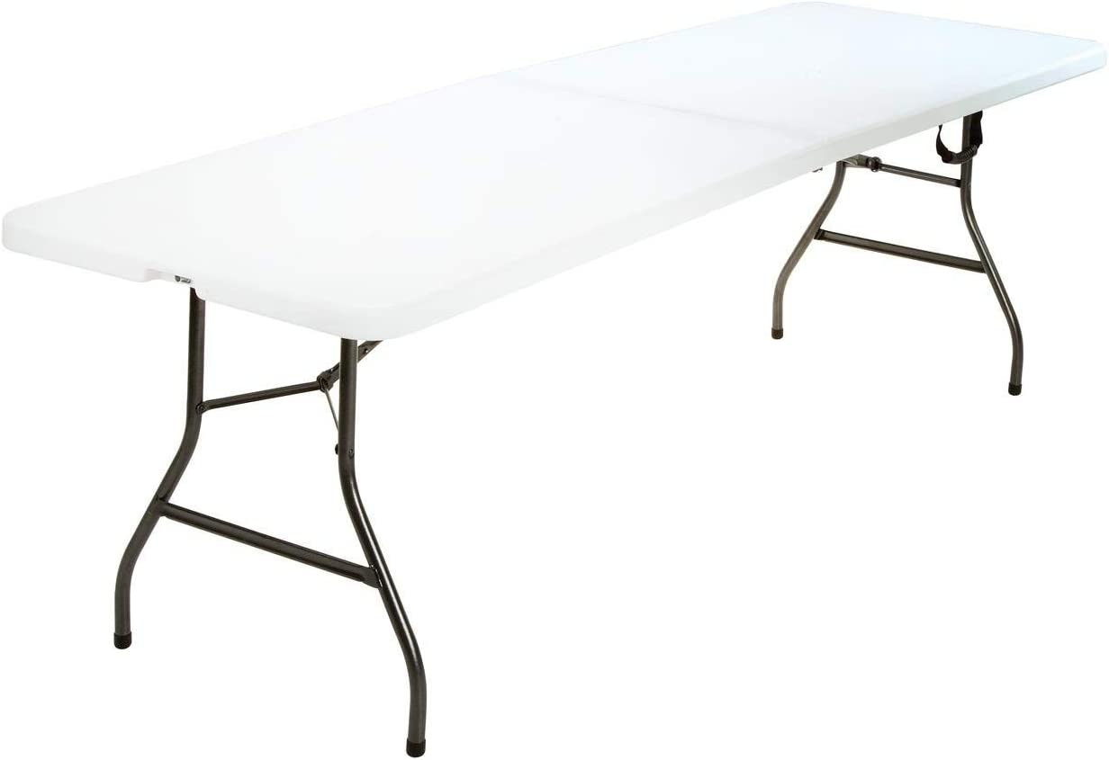 Deluxe 8 Foot x 30 inch Fold-in-Half Blow Molded Folding Table, White