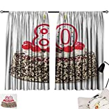 Jinguizi 80th Birthday Curtain Panels Birthday Party Cake with Sweet Tasty Cherries Sprinkles and Candles Image Style Darkening Curtains Multicolor W55 x L39