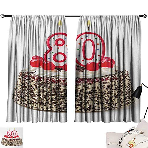 Jinguizi 80th Birthday Curtain Panels Birthday Party Cake with Sweet Tasty Cherries Sprinkles and Candles Image Style Darkening Curtains Multicolor W55 x L39 by Jinguizi (Image #6)