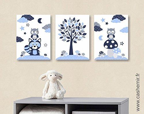 affiches dcoration chambre bb garon illustration poster enfant dcoration murale hibou raton laveur bleu gris rf