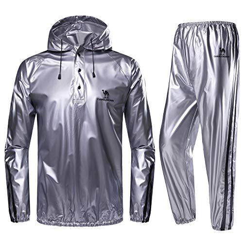 CAMEL CROWN Weight Loss Sweat Suit, Heavy Duty Sweat Sauna Suit for Men Women Exercise Gym Suit for Fitness, Grey, X-Large