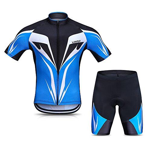(Lixada Men's Cycling Jersey Set Breathable Quick-Dry Short Sleeve Biking Shirt with Gel Padded Shorts MTB Bike Cycling Clothing Set)