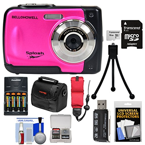 Bell & Howell Splash WP10 Shock & Waterproof Digital Camera (Pink) with 16GB Card + Batteries & Charger + Case + Tripod + Float Strap Kit