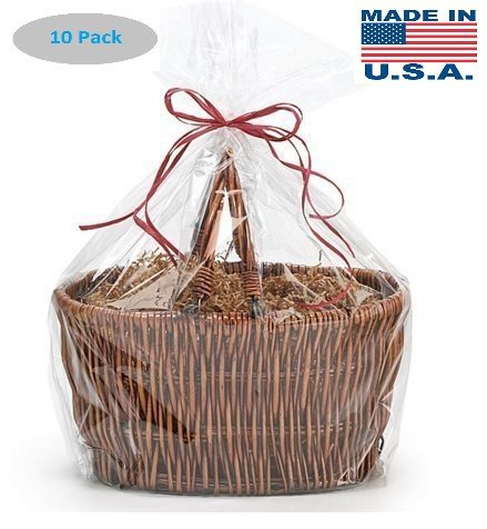 extra large Jumbo size Clear Cellophane Bags Basket Bags Cello Gift Bags Extra Large flat bag 30 in x 40 in 10 Pack (Large Gift Extra)