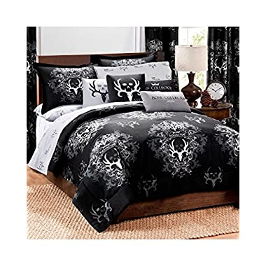 Bone Collector Comforter/Sham Set, Queen, Black/Grey
