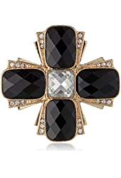 """Anne Klein """"Holiday Pins"""" Gold-Tone and Jet Cross Pin"""