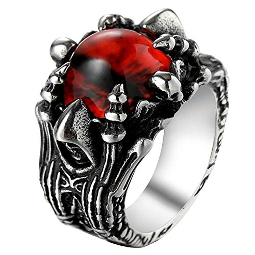 AJZYX Punk Gothic Wizard Ghost Devil Ring Red