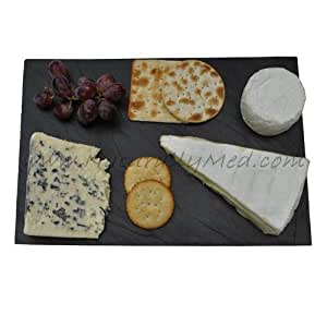 Naturally Med Slate Rectangle Cheese Board and Cheese Knife Set