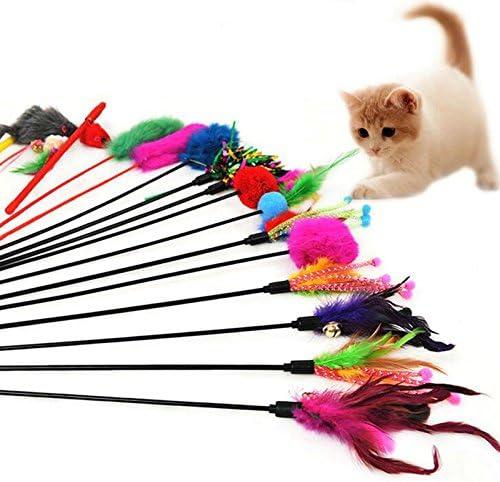 Leisial 4pcs Juguetes para Gatos Mascotas Plumas Funny Cat Play ...