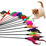 Leisial - Confezione da 4 giochini per gatti, con bastoncino e piuma, colori casuali