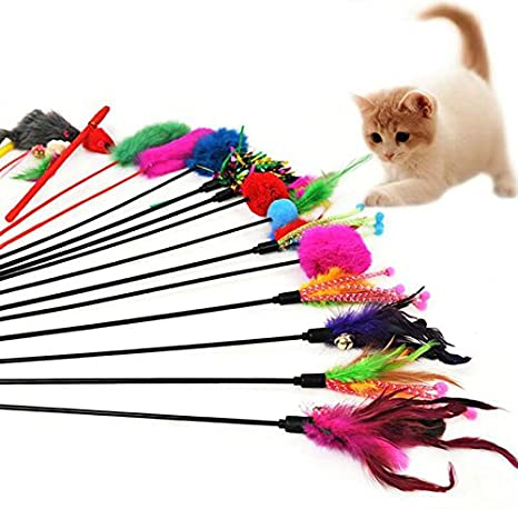Leisial 4pcs Juguetes para Gatos Mascotas Plumas Funny Cat Play Sticks Varilla Gato Juguete Varillas Color al Azar: Amazon.es: Hogar