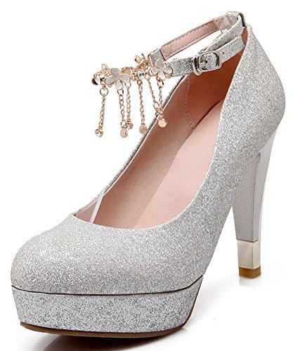 Women High Heels Fashion Breathable Sandals (Silver) - 4