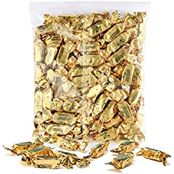 Color Themed Chewy Taffy Candy - 1-Pound Bag of Gold Color Foil Candies Individually Wrapped Peach Fruit Flavored Candy (Kosher, NET WT 454g, About 63 Pieces)