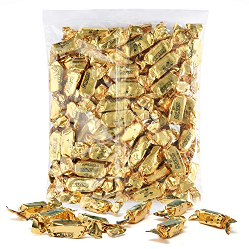 Gold Foils Chewy Taffy Candy, 1-Pound Bag of Gold Color Themed Kosher Candies Individually Wrapped Peach Fruit-Flavored Taffies (NET WT 454g, About 63 Pieces)