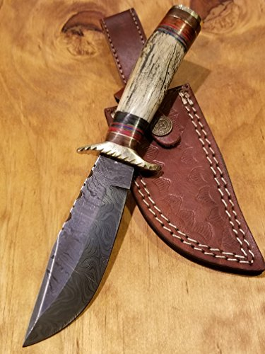 Handmade Deer Antler Handle Hunting Knife Damascus Blade Stag Collection With Leather Sheath Premium (A210) by Artisan Bound