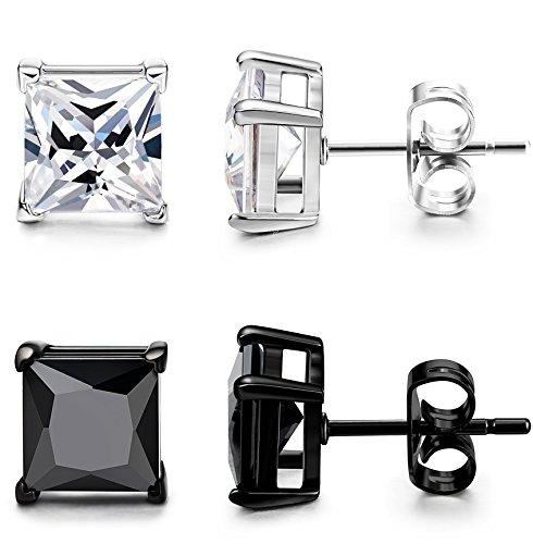 ORAZIO 2 Pairs Mens Womens Stainless Steel Stud Earrings Square Cubic Zirconia Earrings Pierced 7mm