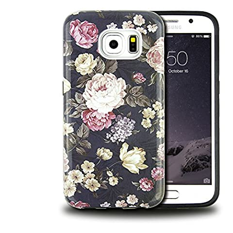 Galaxy S7 Case, Dimaka Cute Floral Peony Flower PC Cover with Shock Proof Protective TPU Bumper[Slim and Sturdy][2 Layers][Print Designed Pattern for Girls] for - Lip Cell Phone Case